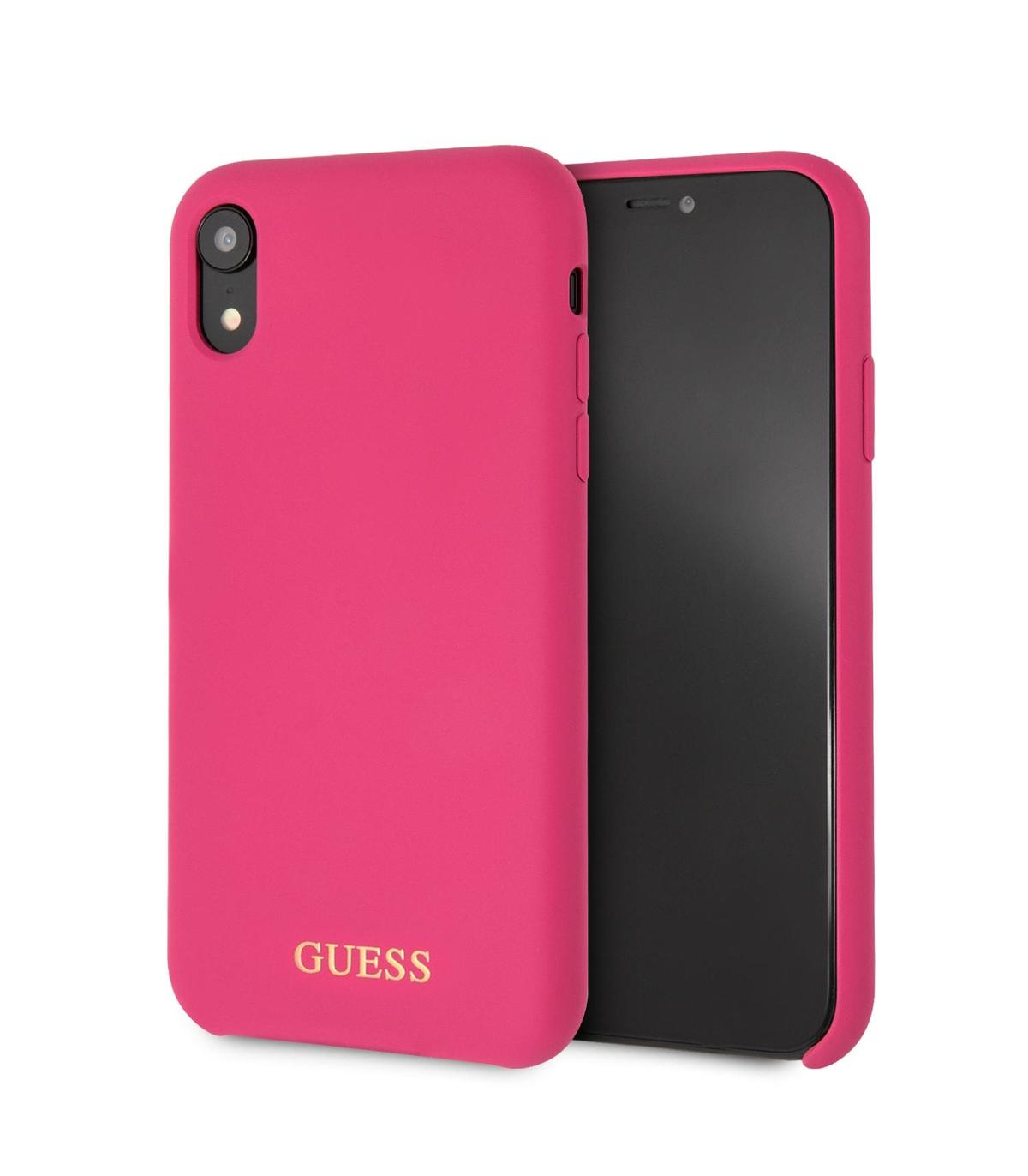 0aba4909974 Guess funda Apple iPhone XR silicona rosa logo dorado